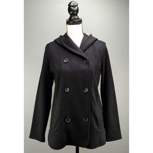 James Perse Pea Coat Black Double Breasted 2/M